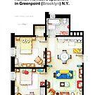 Floorplan of Hannah Horvath's apartment from GIRLS by Iñaki Aliste Lizarralde