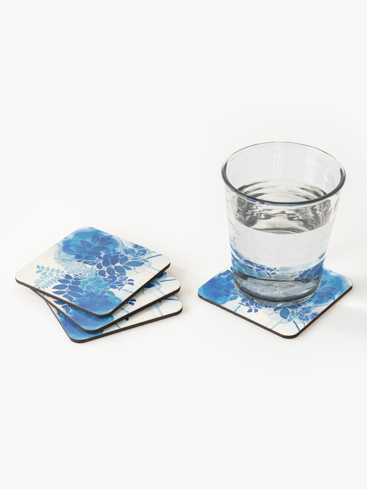 Alternate view of bouquet bleu abstrai/abstract blue bouquet Coasters (Set of 4)