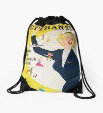 Vintage 1950's German Lufthansa  Drawstring Bag