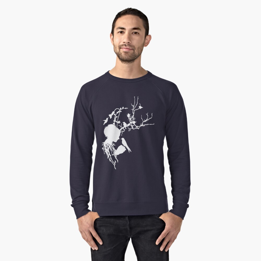 And then I was one with nature...white ink Lightweight Sweatshirt Front