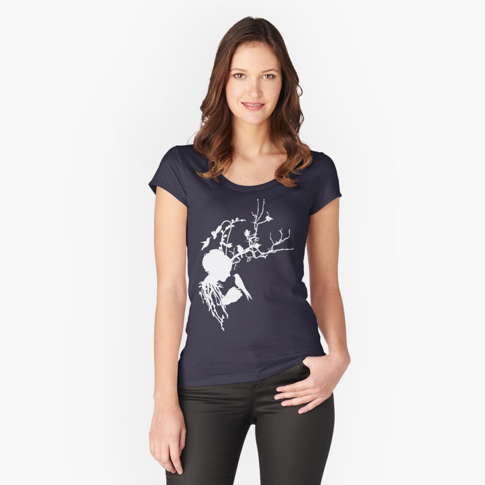 And then I was one with nature...white ink Women's Fitted Scoop T-Shirt Front