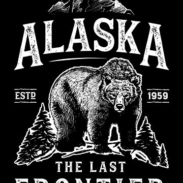 Alaska The Last Frontier Bear Home T Shirt Hombres Mujeres Vintage Gifts National Park de LiqueGifts