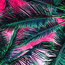 Pink Teal Tropical Summer Palm Tree Fronds by Blkstrawberry
