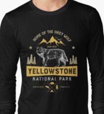 Camiseta de manga larga Camiseta de Yellowstone National Park Grey Wolf - Regalos de época Hombres Mujeres Niños Juventud