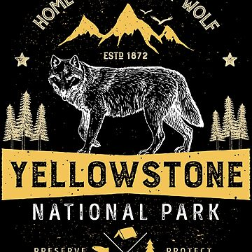 Yellowstone T shirt National Park Grey Wolf - Vintage Gifts Men Women Kids Youth by LiqueGifts