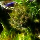 Hen and Chicks Plant-Reaching up-Abstract by MaeBelle