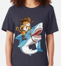 Cat Riding Shark T shirt Funny Kitty Kitten Cowboy hat Gifts Kids Boys Girls Slim Fit T-Shirt