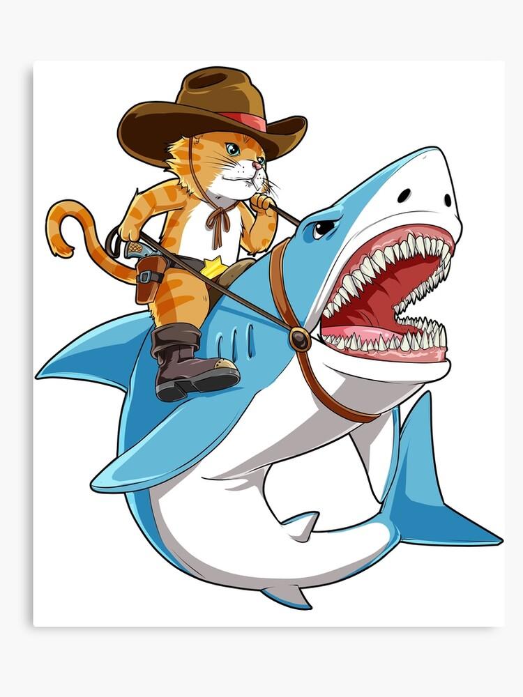 8e870dfa Cat Riding Shark T shirt Funny Kitty Kitten Cowboy hat Gifts Kids Boys  Girls | Canvas Print