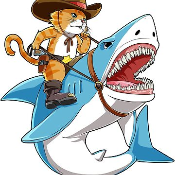 Cat Riding Shark T shirt Funny Kitty Kitten Cowboy hat Gifts Kids Boys Girls by LiqueGifts