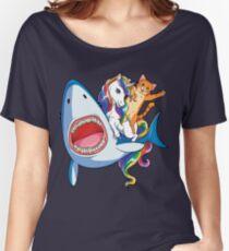Cat Riding Unicorn Riding Shark T-Shirt Rainbow Galaxy Gifts Kids Boys Girls Women Men Youth Tees Women's Relaxed Fit T-Shirt