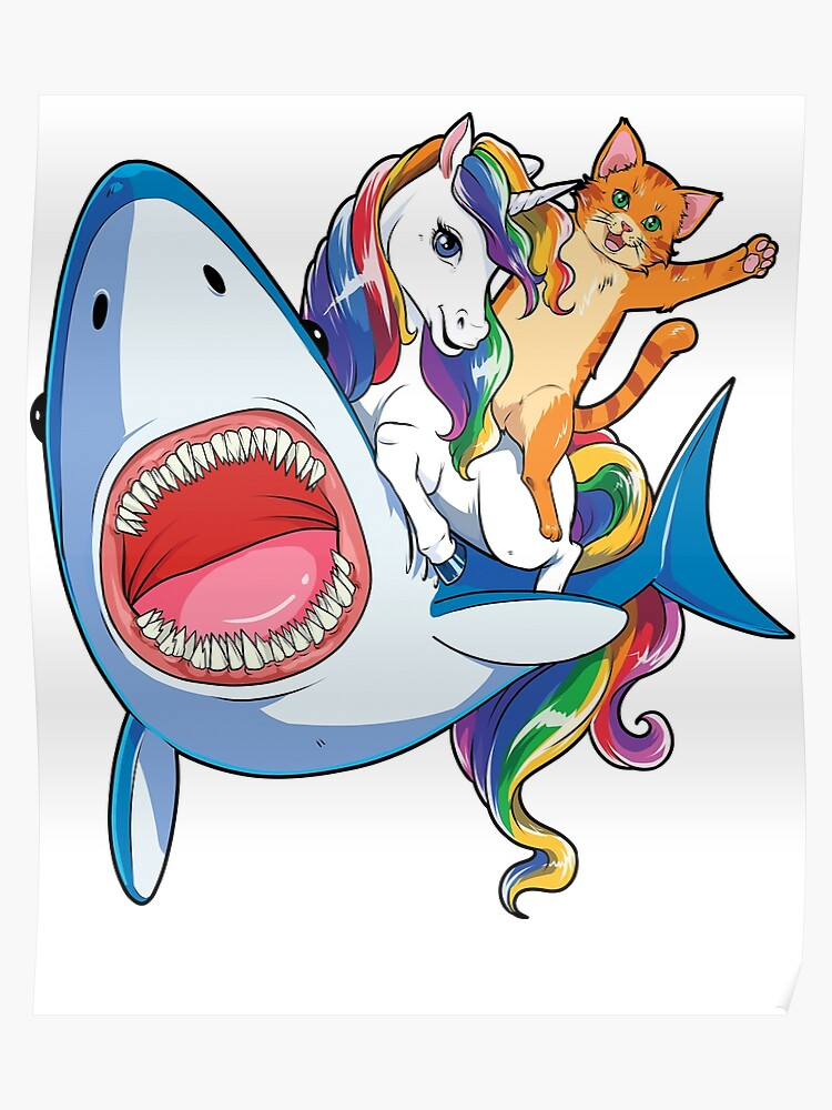 8d0ae5494 Cat Riding Unicorn Riding Shark T-Shirt Rainbow Galaxy Gifts Kids Boys  Girls Women Men