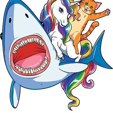 Cat Riding Unicorn Riding Shark T-Shirt Rainbow Galaxy Gifts Kids Boys Girls Women Men Youth Tees by LiqueGifts