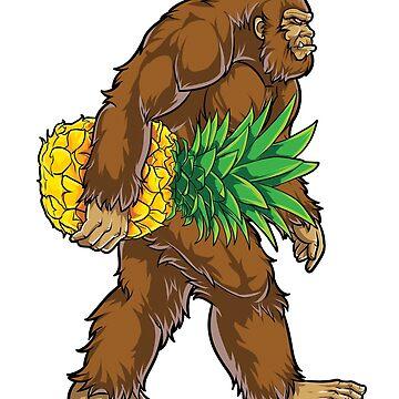 Bigfoot Carrying Pineapple T Shirt Funny Sasquatch Gifts Tee Men Women Kids Boys Tees by LiqueGifts