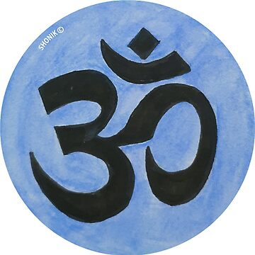 Om symbol with blue background  by shonik