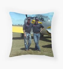 Two Southern Knights Pilots with one of their Harvards Throw Pillow