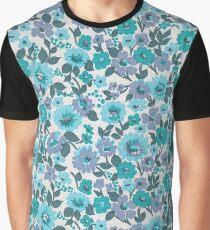 Retro Floral Vintage Wallpaper Flowers Pattern Aqua Turquoise Purple Graphic T-Shirt