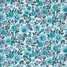 Retro Floral Vintage Wallpaper Flowers Pattern Aqua Turquoise Purple by vintagegoodness