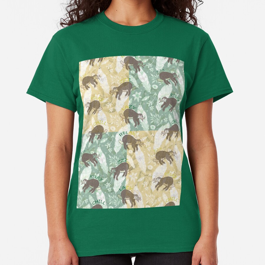Mozaic Lazy Boho Sloth On Yellow and Green Background Classic T-Shirt