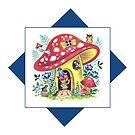 Vintage Pixie Elf In His Mushroom House Retro Kitsch Design by vintagegoodness
