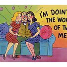Funny Vintage Postcard Risque Comic Illustration Retro by vintagegoodness