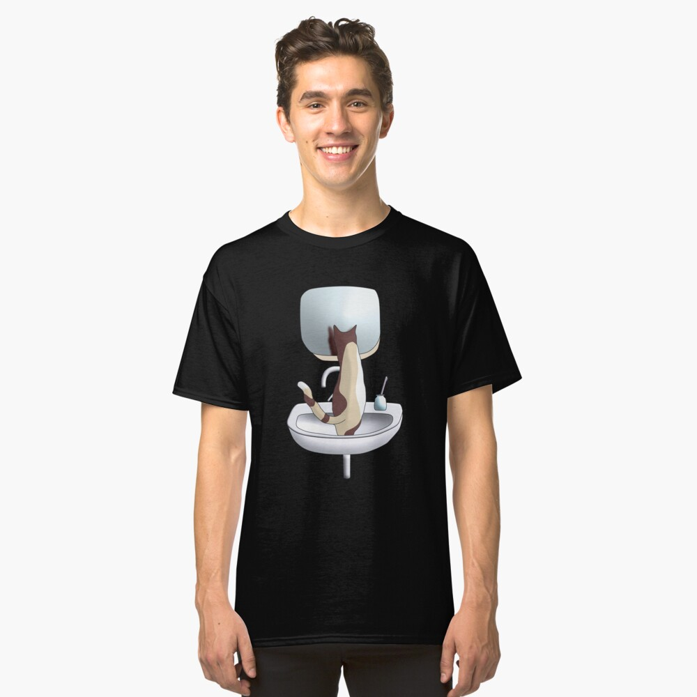 Why don't I sit in the sink and take a look at my awesome self in the bathroom mirror Classic T-Shirt