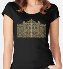 French Wrought Iron Gate | Louis XV Style | Black and Gold Women's Fitted Scoop T-Shirt