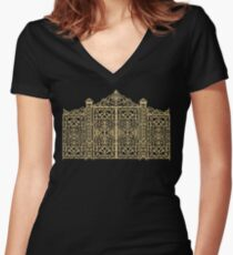 French Wrought Iron Gate | Louis XV Style | Black and Gold Women's Fitted V-Neck T-Shirt
