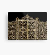 French Wrought Iron Gate | Louis XV Style | Black and Gold Metal Print