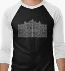 French Wrought Iron Gate | Louis XV Style | Black and Silvery Grey Men's Baseball ¾ T-Shirt