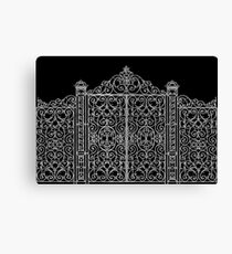 French Wrought Iron Gate | Louis XV Style | Black and Silvery Grey Canvas Print