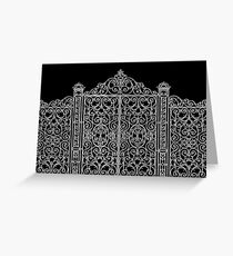 French Wrought Iron Gate | Louis XV Style | Black and Silvery Grey Greeting Card