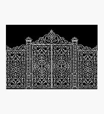 French Wrought Iron Gate | Louis XV Style | Black and Silvery Grey Photographic Print
