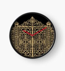 French Wrought Iron Gate | Louis XV Style | Black and Gold Clock