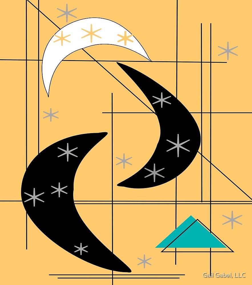 Atomic Boomerangs and Stars Yellow Black by Gail Gabel, LLC