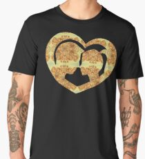 Hearts, Roses, and a Kiss Men's Premium T-Shirt