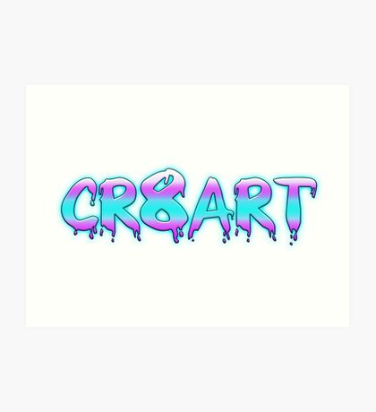 Create Art! - Pink, Blue on White Art Print