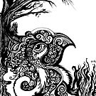 Contemplation Tree, Ink Drawing by Danielle Scott