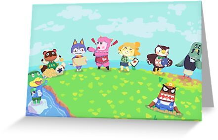 Animal Crossing New Leaf Group Illustration Greeting Cards By