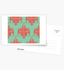 Sea foam green Damask Goddess Zee Postcards