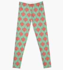 Sea foam green Damask Goddess Zee Leggings