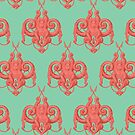 Sea foam green Damask Goddess Zee by Kyle Armstrong