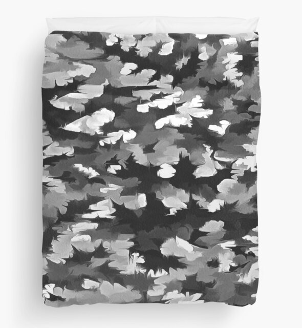 Foliage Abstract Pop Art In Monotone Black and White by taiche