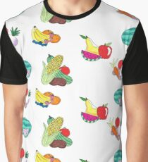 Fruits and Veggies Repeating Version Graphic T-Shirt