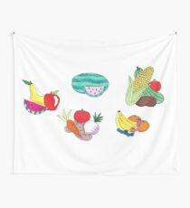 Fruits and Veggies Single Version Wall Tapestry