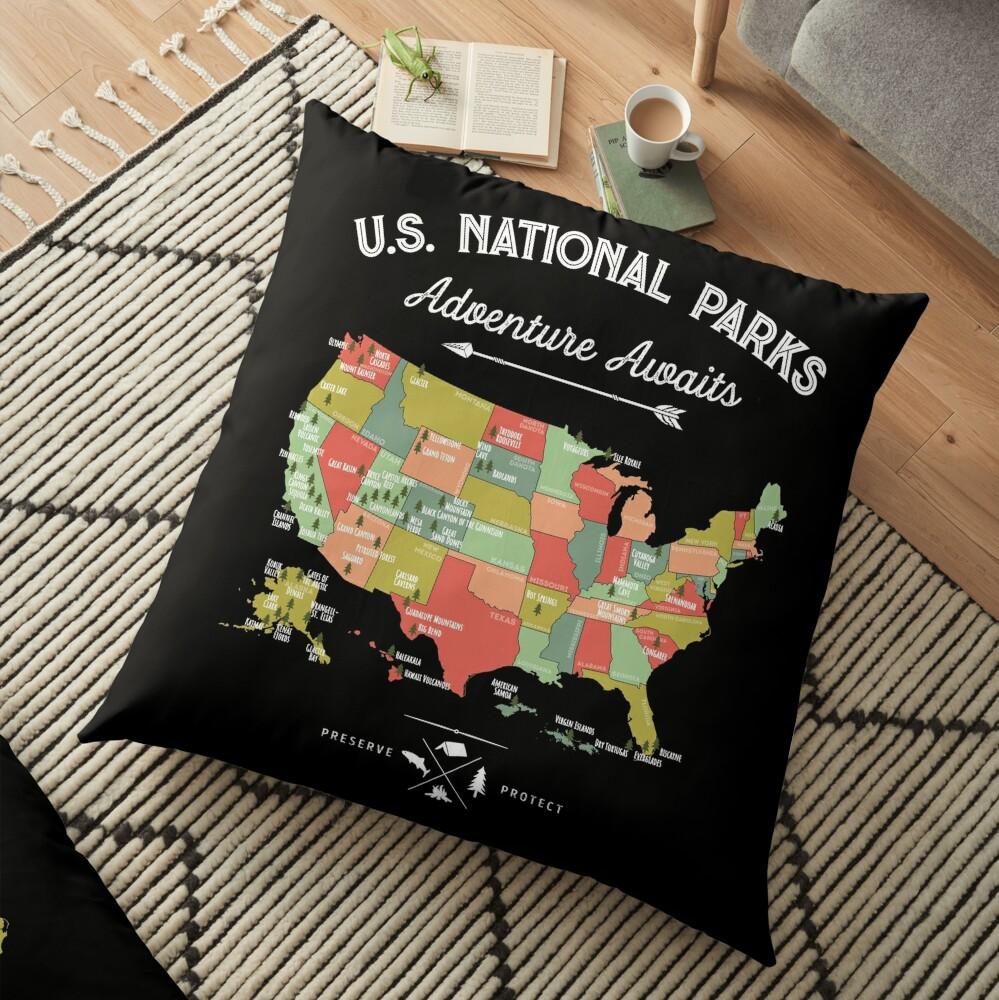 National Park Map Vintage T Shirt - All 59 National Parks Floor Pillow
