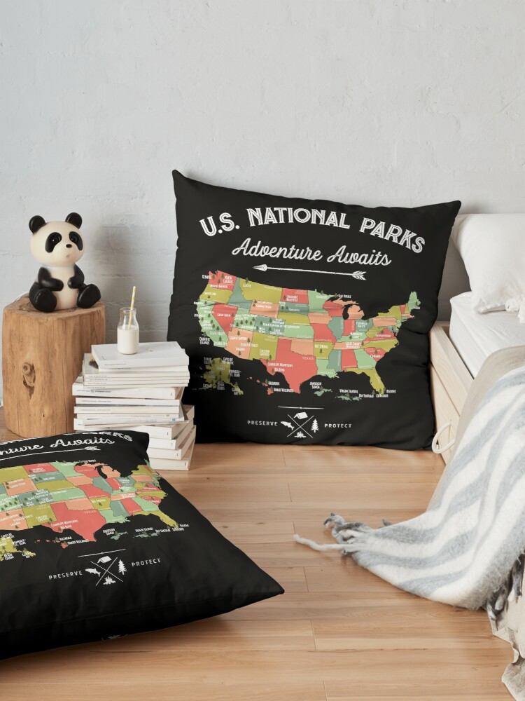 Alternate view of National Park Map Vintage T Shirt - All 59 National Parks Floor Pillow