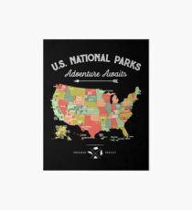 National Park Map Vintage T Shirt - All 59 National Parks Art Board
