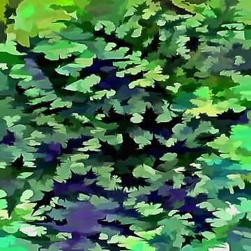 Foliage Abstract Camouflage In Forest Green and Black by taiche