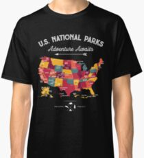 National Park Map Vintage T Shirt - All 59 National Parks Gifts Men Women Kids Classic T-Shirt