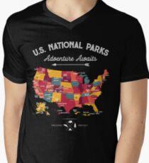 National Park Map Vintage T Shirt - All 59 National Parks Gifts Men Women Kids Men's V-Neck T-Shirt